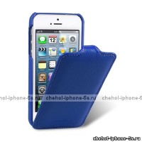 Синий кожаный чехол Melkco для iPhone 5s / SE - Leather Case Jacka Type Dark Blue LC