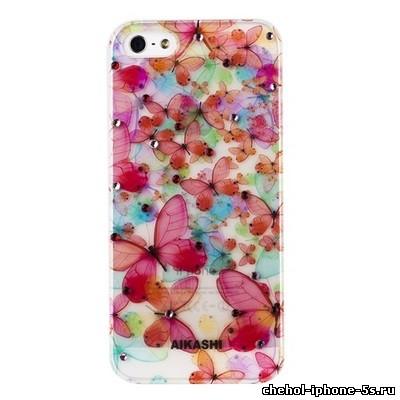 Пластиковый чехол накладка со стразами AIKASHI для iPhone 5 цветы ...