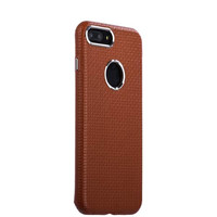 Коричневая кожаная накладка чехол для iPhone 8 Plus - i-Carer Transformer Real Leather Woven Pattern Back Cover Brown