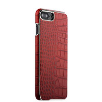 Красная кожаная накладка для iPhone 8 Plus фактура кожа крокодила - XOOMZ Electroplating Crocodile Embossed Genuine Red