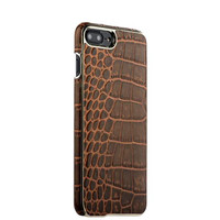 Коричневая кожаная накладка для iPhone 8 Plus фактура кожа крокодила - XOOMZ Electroplating Crocodile Embossed Genuine Brown