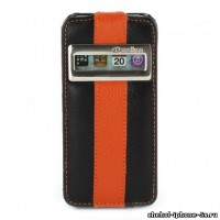 Кожаный чехол Melkco для iPhone 5s / SE / 5 Black/Orange ID (Jacka Type Limited Edition)