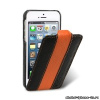 Кожаный чехол Melkco для iPhone 5s / SE / 5 Black/Orange LC (Jacka Type Limited Edition)