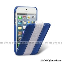 Кожаный чехол Melkco для iPhone 5s / SE / 5 Blue/White LC (Jacka Type)