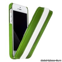 Кожаный чехол Melkco для iPhone 5s / SE / 5 Green/White LC (Jacka Type)