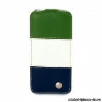 Кожаный чехол Melkco для iPhone 5s / SE / 5 Green/White/Blue LC (Jacka Type)